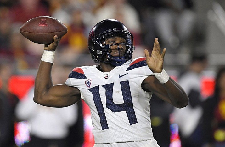 Arizona quarterback Khalil Tate throws a pass during the first half of an NCAA college football game against Southern California, Saturday, Nov. 4, 2017, in Los Angeles. (Mark J. Terrill/AP)