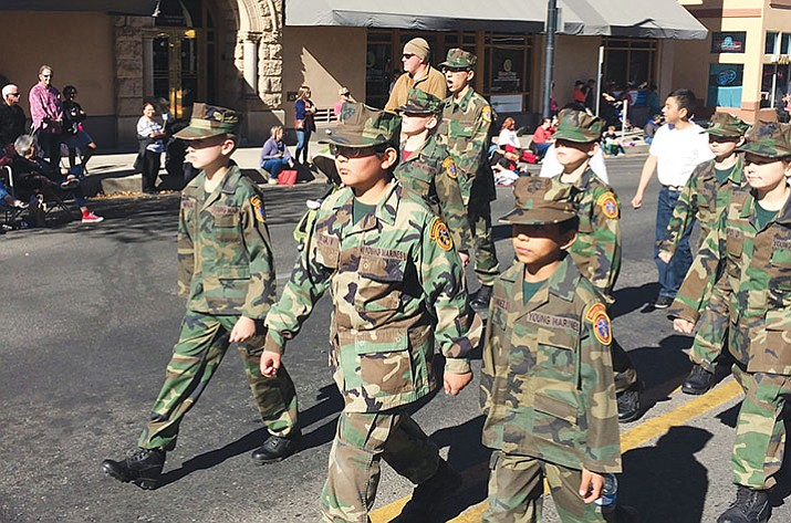 The local Young Marines were one of 84 different groups, including local military service organizations, clubs, and the Prescott High School Band, to march in the annual Prescott Veterans Day Parade on Saturday, Nov. 11. (Nanci Hutson/Courier)