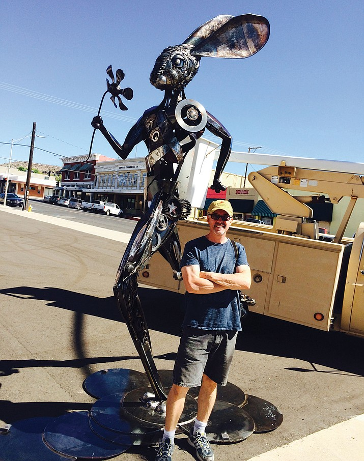 "Don Gialanella was an artist-in-residence at the ArtHub when he created the 12-foot metal sculpture called ""Running Hare"" placed at Fourth Street and Andy Devine Avenue in September 2015."