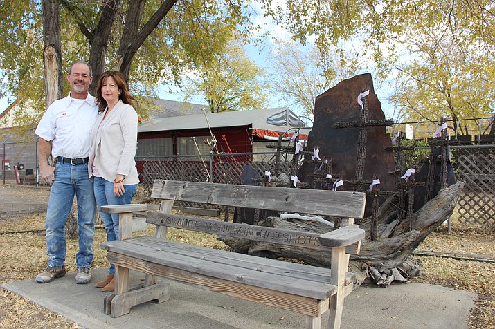 Kim and Bill Gagnon, owners of The Plumbing Store, purchased the former Granite Mountain Hotshots fire station in July and hope to fully relocate their storefront to the property in the next month or so. This bench and artwork are located on the property next to the horseshoe pits.