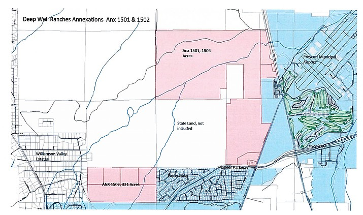The red areas are the Deep Well Ranch land under consideration for annexation.See enlarged map at: http://prescottads.com/Courier-pdf-doc/deep_well_maps.pdf