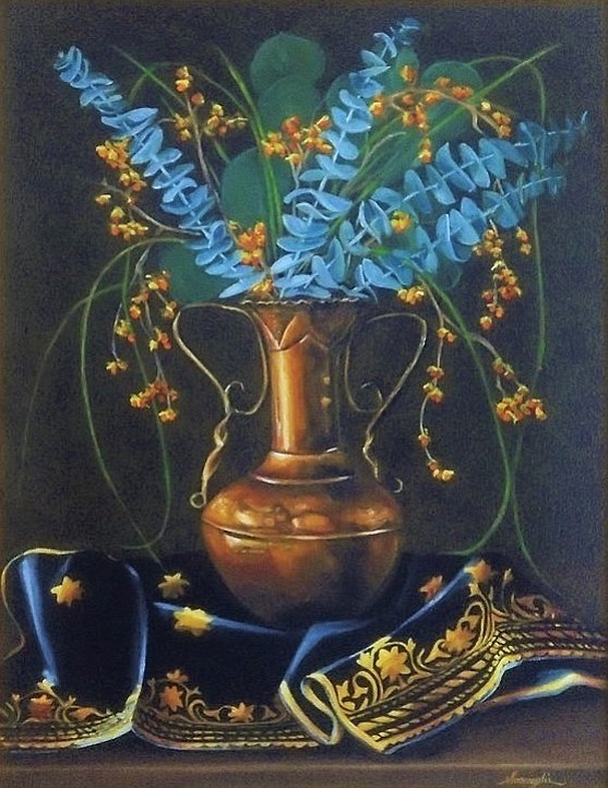 """""""Life and Still Life"""" is a large solo show by Linda Sosangelis with over 75 paintings exhibited at The Sedona Art Center Theatre. This is a sumptuous collection of paintings; through her work Linda transcribes the world into something slightly rarified, a realm in which beauty and harmony reign supreme."""