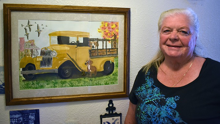 The El Valle Artists Association October/November Artist of the Month is Nancy Talbot.  Nancy has been painting seriously for approximately three years, and has already become enamored with all the intriguing aspects art brings to the creative person.