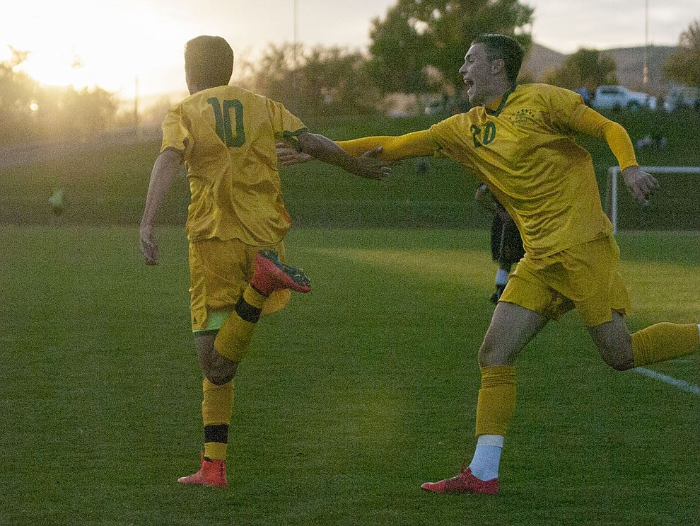 Yavapai's Carlo Quesada celebrates his first half goal as the Roughriders take on Waubonsee Community College in the opening round of the NJCAA Division 1 National Championship Tuesday night in Prescott Valley. (Les Stukenberg/Courier)