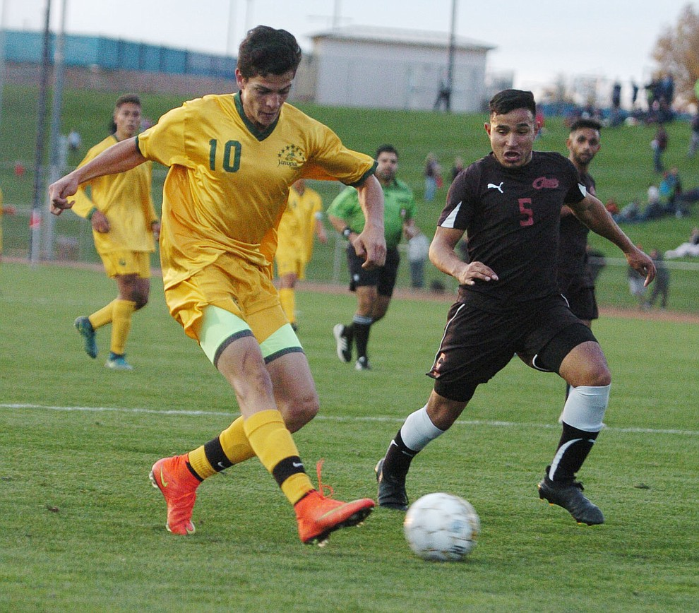 Yavapai's Carlo Quesada takes a shot on goal as the Roughriders take on Waubonsee Community College in the opening round of the NJCAA Division 1 National Championship Tuesday night in Prescott Valley. (Les Stukenberg/Courier)