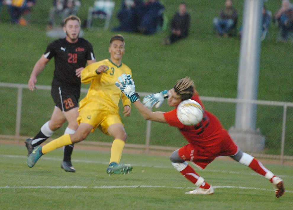 Yavapai's John Scearce scores a first half goal as the Roughriders take on Waubonsee Community College in the opening round of the NJCAA Division 1 National Championship Tuesday night in Prescott Valley. (Les Stukenberg/Courier)