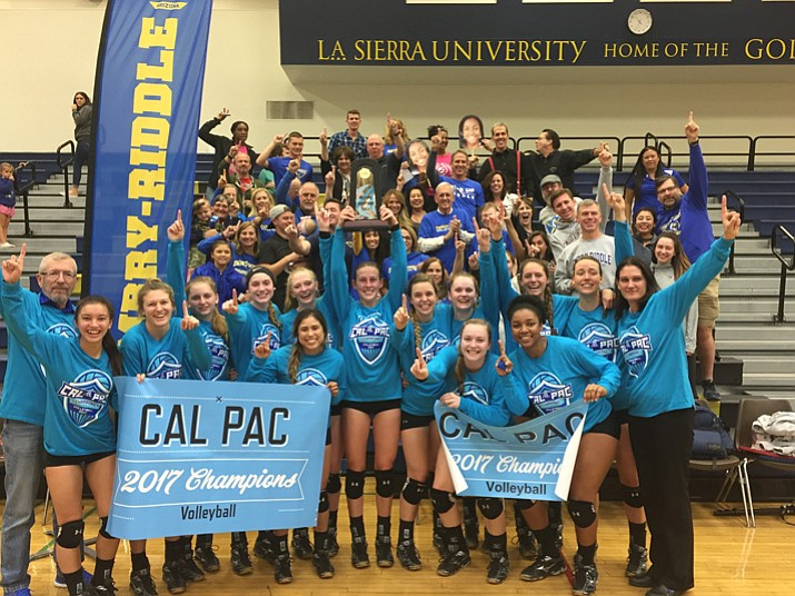 The Embry-Riddle volleyball team poses for a photo after claiming the Cal-Pac Conference Tournament championship with a 3-2 win over UC-Merced on Saturday, Nov. 11, 2017, in Riverside, Calif. (Javier Krumm, La Sierra/Courtesy)