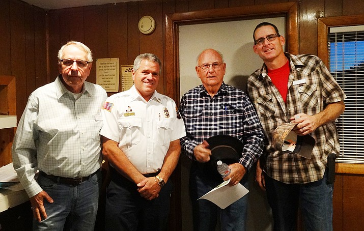 VLRC Vice-President Jim Young, Copper Canyon Fire and Medical Authority Fire Chief Keller, Camp Verde Mayor German, VVRC President Russ Moore at the VLRC's Nov. 10 meeting. (Photo courtesy of Lettie Irons Connell)