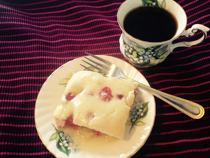 Cranberry Cake with Butter-Almond Sauce