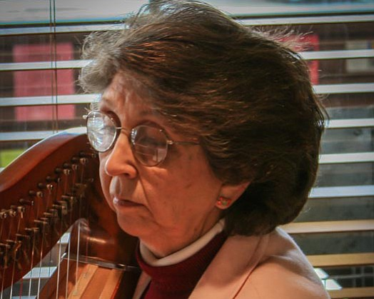 Carolyn Bame will play her harp in the first weekend of the Advent Concert Series.