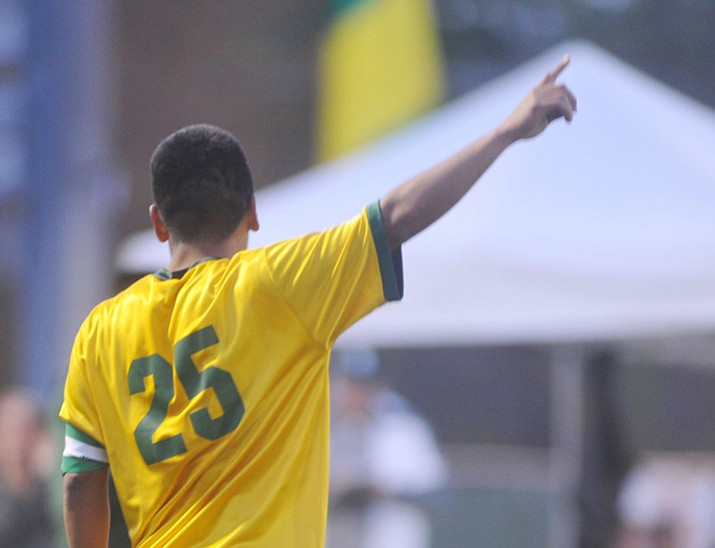 Yavapai's Jose Perez Flores celebrates his first half goal as the Roughriders take on Waubonsee Community College in the opening round of the NJCAA Division 1 National Championship Tournament on Monday, Nov. 13, 2017, Prescott Valley. (Les Stukenberg/Courier)