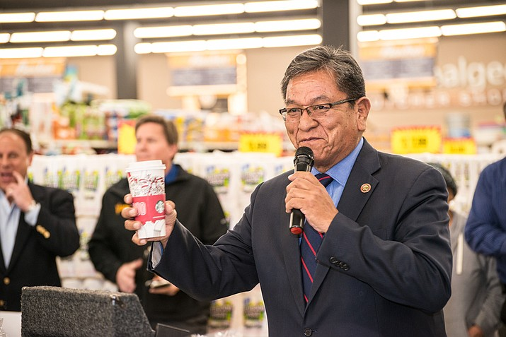 Navajo Nation President Russell Begaye at the opening of the first Starbucks on the Nation. Submitted photo