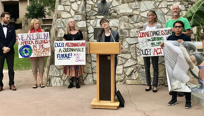 Sandy Bahr, president of local Sierra Club chapter, joined other environmental and faith groups asking Gov. Doug Ducey to work on deterring climate change.