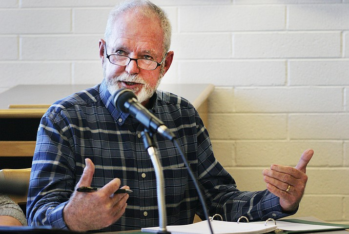 "Consolidation Committee Chairperson Dan Mabery: ""We are not charged to have an opinion on the consolidation issue, but to fact find and draw up a list of pros and cons."" (Photo by Bill Helm)"