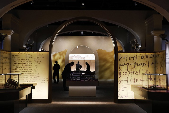 Exhibits are readied inside the Museum of the Bible in Washington. The project is largely funded by the conservative Christian owners of the Hobby Lobby crafts chain. (AP Photo/Jacquelyn Martin)