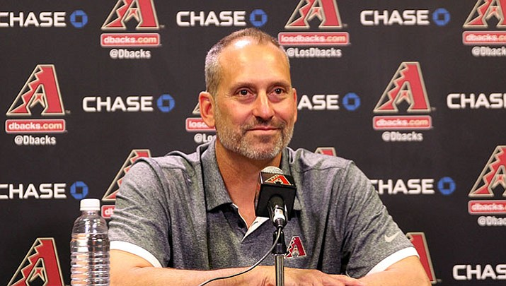 Torey Lovullo is all smiles after learning he had been named National League Manager of the Year.