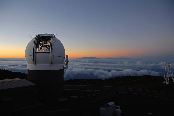 "This undated photo made available by the University of Hawaii shows the Pan-STARRS1 Observatory on Haleakala, Maui, Hawaii at sunset. In October 2017, the telescope discovered an object from another star system that's passing through ours. It was given the name ""Oumuamua,"" which in Hawaiian means a messenger from afar arriving first. (Rob Ratkowski/University of Hawaii via AP)"