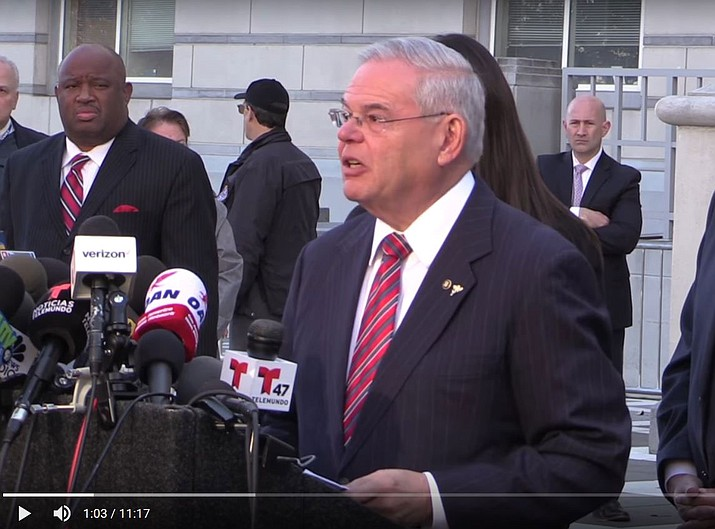 Sen. Bob Menendez speaks during a press conference Thursday after learning his trial ended with a hung jury.