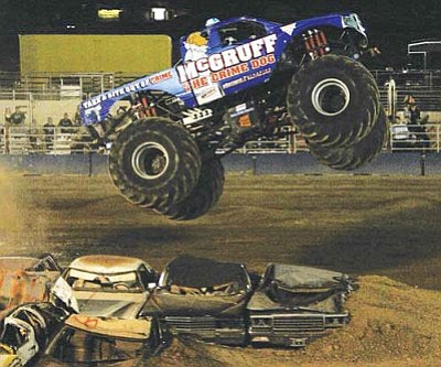 Monster trucks like this flyer in 2011 won't be visiting the Mohave County Fairgrounds anytime soon after the fair board decided to have them leave in favor of rodeos.
