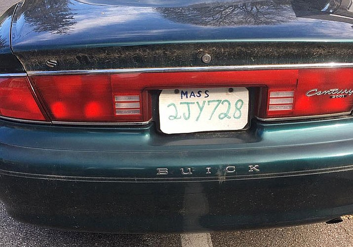 The Hopkinton, Massachusetts Police Department says in a Facebook post Sunday a driver was stopped with a license plate made from a pizza box.