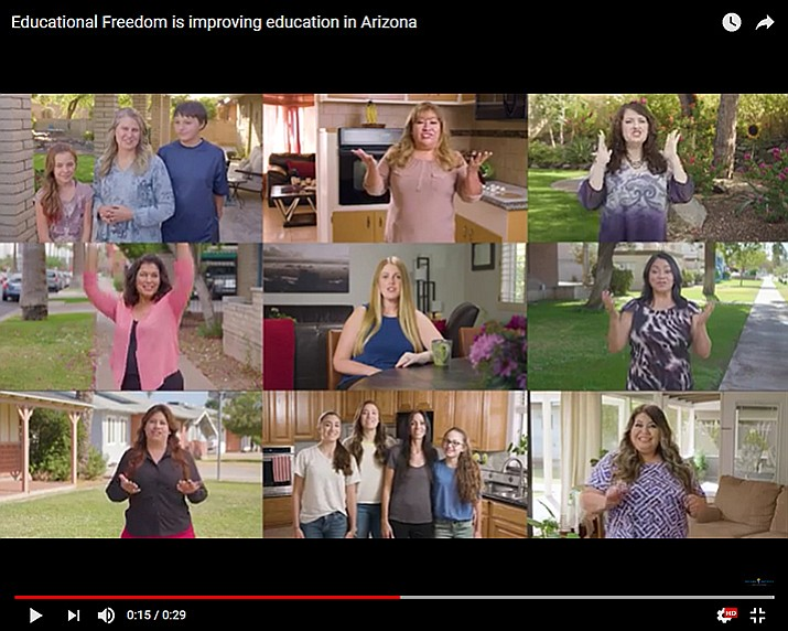 A screen grab from a new commercial about school vouchers that the conservative Koch Brothers are backing financially and only being shown in Arizona. The state's voters are scheduled to vote on the Legislature expanding vouchers during the last session. (Howard Fischer/Capitol Media Services)