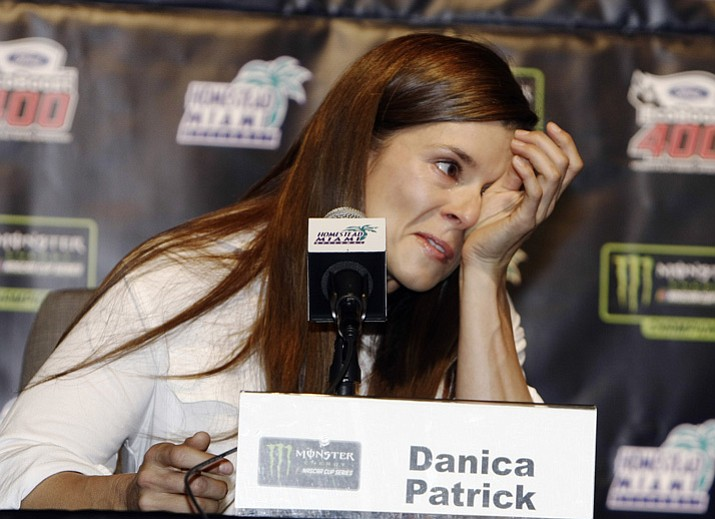 Danica Patrick wipes away tears during a news conference Friday, Nov. 17, 2017, in Homestead, Fla. (Darryl Graham/AP)