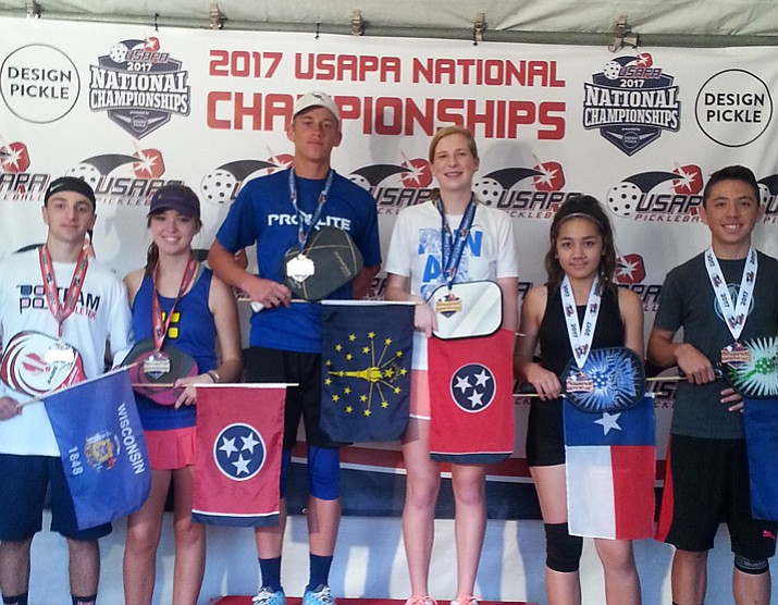 Prescott siblings Grant, far right, and Gloria Sanders, second from right, pose with the rest of the youth division winners at the 2017 USAPA Pickleball National Championships on Nov. 14 in Casa Grande. (Bob Atherton/Courtesy)