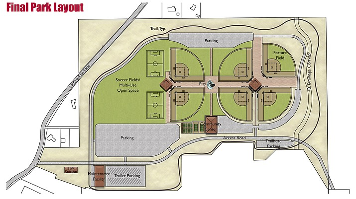 Kimley Horn's design for the Camp Verde Sports Complex, which will be built east on SR 260 off McCracken Lane. Wednesday, the Camp Verde council voted to approve the funding mechanism associated with building phase one of the new park. (Courtesy of the Town of Camp Verde)