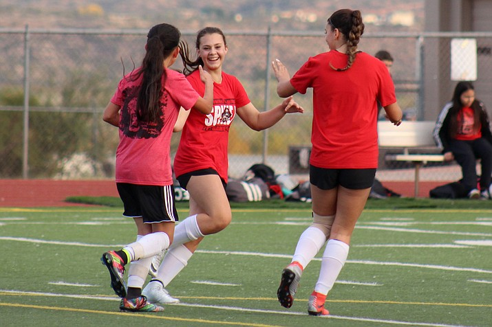 Mingus celebrates one of their the eight goals they scored during their scrimmage on Friday against Goldwater at home. (VVN/James Kelley)