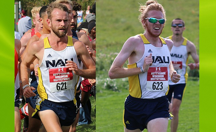 NAU juniors Matthew Baxter (left) (29:00.8) and Tyler Day (29:04.6) finished second and third respectively. Justyn Knight from Syracuse won with a time of 29:00.1. Photos courtesy of NAU