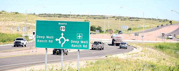 Traffic enters the roundabout on Highway 89 where the future Deep Well Ranch subdivision will be centered.