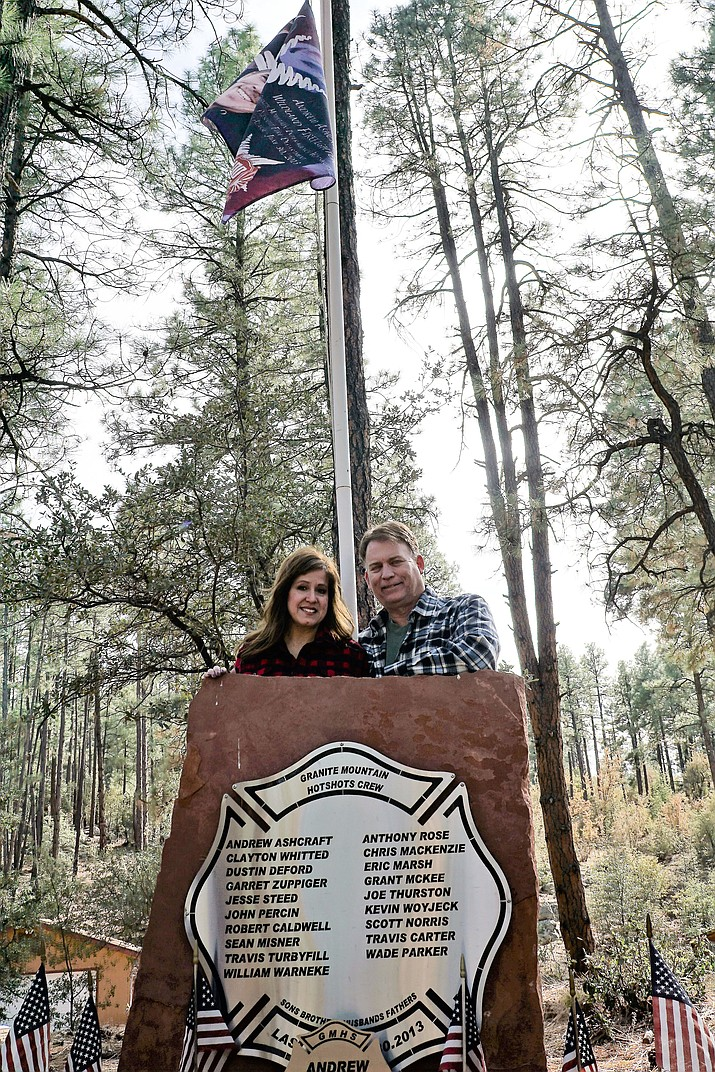 Jenn Winters-Ashcraft and Tom Ashcraft have honored Tom's son Andrew and the other fallen Granite Mountain Hotshots with a memorial at their home located off White Spar Road. For the past two years or so, the couple also have been working to promote fire-wise practices, as well as on a haven for people dealing with tragic losses.