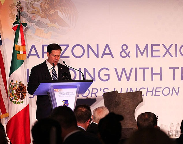 Arizona Gov. Doug Ducey during the Leading with Trade Lunch on Nov. 8.