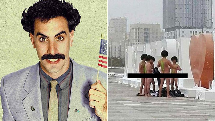 """At left, British comedian Sacha Baron Cohen as his comic character, Borat. At right, a group of six Czech tourists sporting lime green """"mankinis"""" swimsuits similar to the character made famous by Cohen. The tourists were detained by authorities. Cohen has offered to pay the 22,500 tenge ($68) fines for the tourists. (Borat, 20th Century Fox; Czech tourists/informburo.kz, via AP)"""