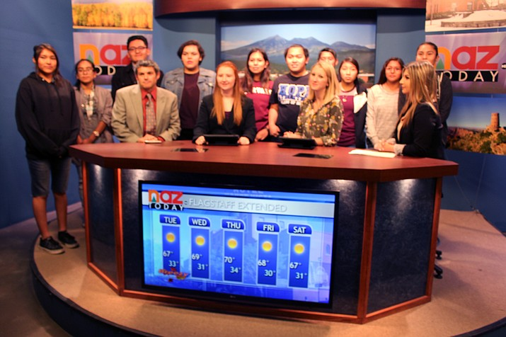 Hopi High media students join NAU newscasters on the set at Northern Arizona University. Stan Bindell/NHO