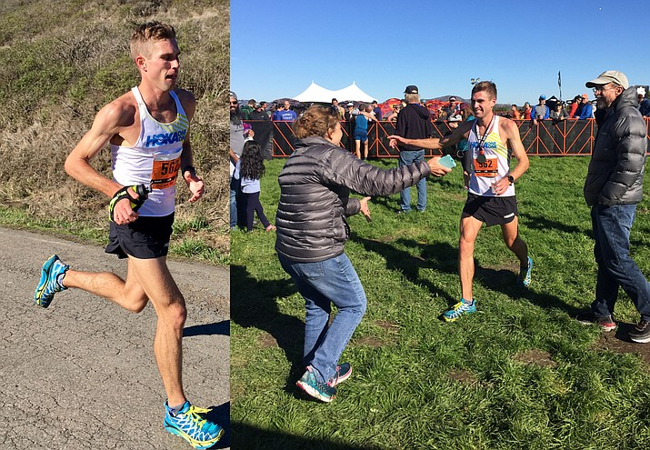 Left, Cottonwood's Tim Freriks, en route to winning the prestigious North Face Endurance Challenge 50-mile race in San Francisco Saturday. Right, Freriks is congratulated by his parents, Karen and Jon, following Saturday's win in San Francisco. Photos courtesy of Jessica Brazeau