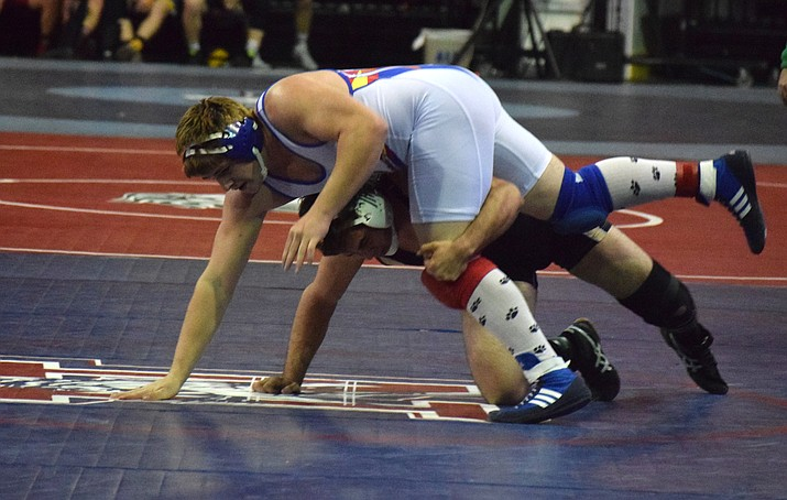 Camp Verde junior Tristian Stanfield won the 220 pound state championship last year. He said he's had some minor injuries before the regular season started but they're weren't a problem. (VVN/James Kelley)