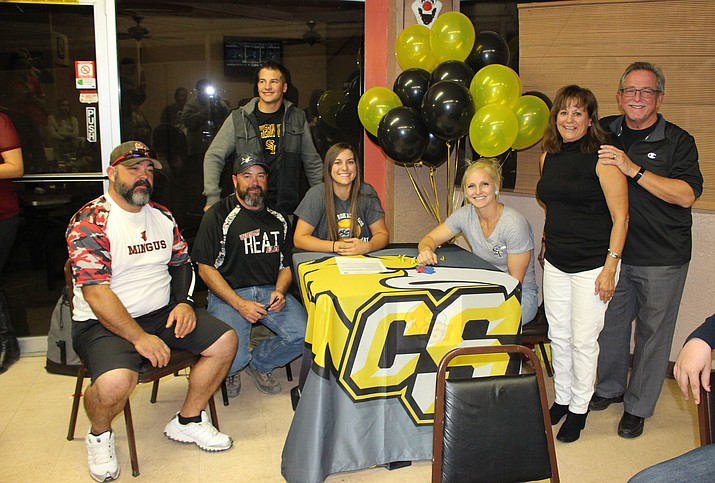 Mingus senior Nikki Zielinski signed with College of Southern Idaho on Monday night at Vinnie's Pizza. Zielinski will play softball at the Twin Falls college. (VVN/James Kelley)