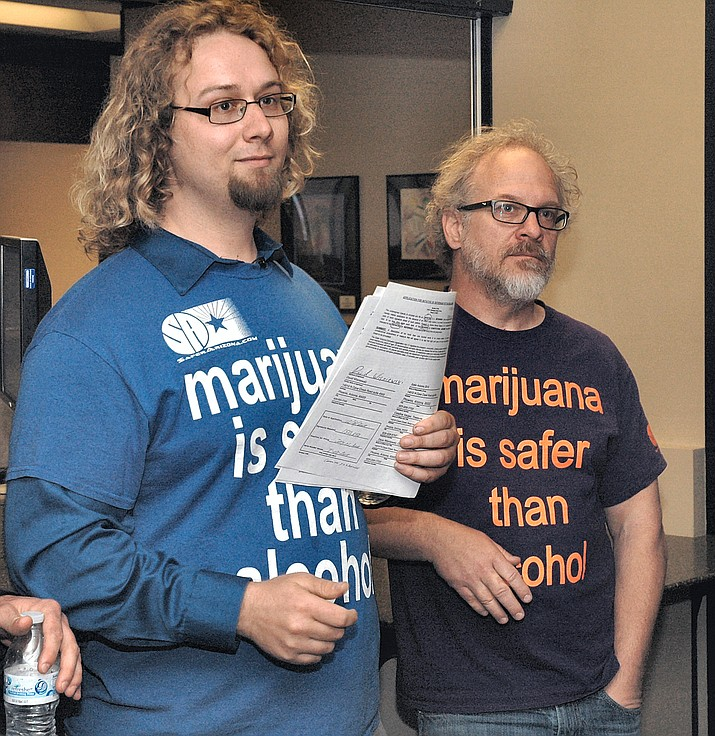 David Wisniewski and Alex Gentry when they filed their paperwork earlier this year to put a marijuana legalization measure on the 2018 ballot. Wisniewski said this week he intends to continue gathering signatures despite polling suggesting the initiative would fail in an off-year election. (Capitol Media Services file photo by Howard Fischer)