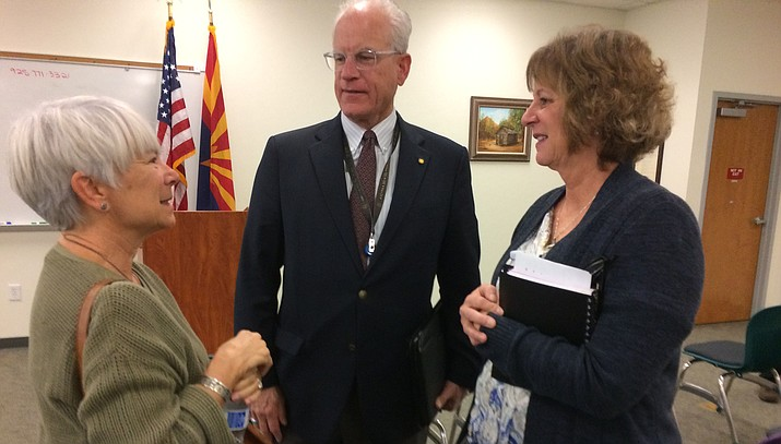 Yavapai County Chief Probation Officer speaks to Sally Schindel (left) and Jill Martin (right) during a MatForce forum to release the findings of the Yavapai County Overdose Fatality Review Board