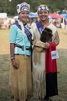 "Chenoa Peters, the Mashpee Wampanoag Powwow Princess for 2017-2018 with ""Little Miss Wampanoag"" 2017-2018, Paris Hendricks."