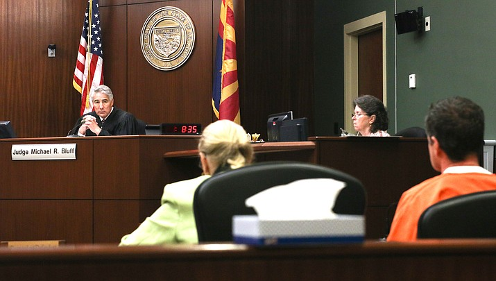 Yavapai County Superior Court Judge Michael R. Bluff listens to comments from defense attorney Alex Harris Wednesday in the Seth Collins case. With the state withdrawing from a plea agreement, the case will now be assigned to a new judge and more forward for a jury trial. (VVN/Halie Chavez)