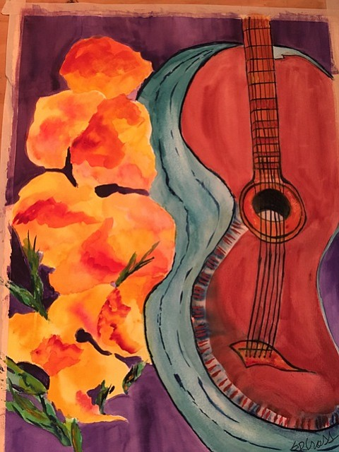 """Alfredo's Guitar"" watercolor by Sallie Cross. The 31st annual Made in Clarkdale artist showcase is held Nov. 30 through Dec. 4."