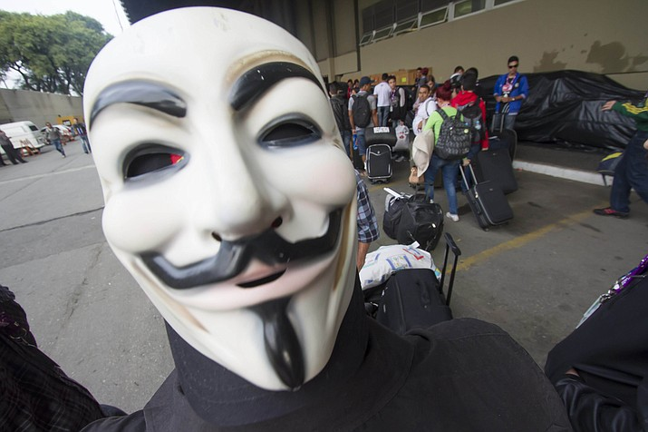 Under this proposed law, wearing masks, such as this Guy Fawkes mask, to a political demonstration or in form of protest, would be treated as a felony.