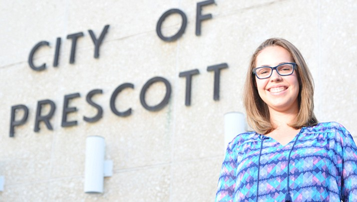 City of Prescott's newest and possibly youngest council member ever Alexa Scholl poses outside of City Hall Wednesday.