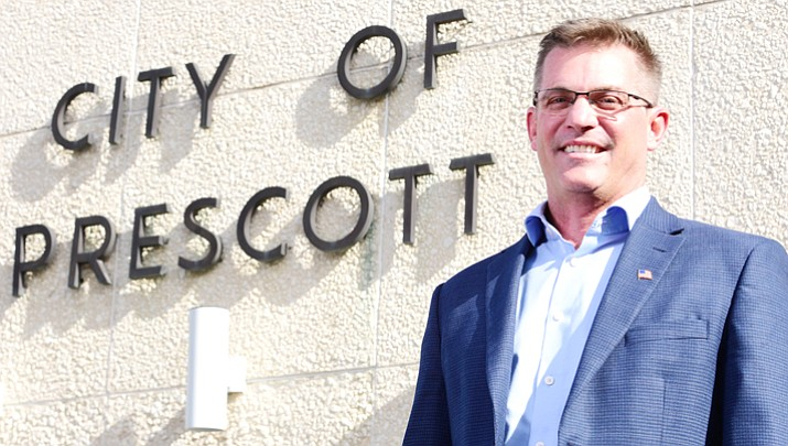 City of Prescott Mayor-elect Greg Mengarelli poses outside of Prescott City Hall Tuesday, November 21.