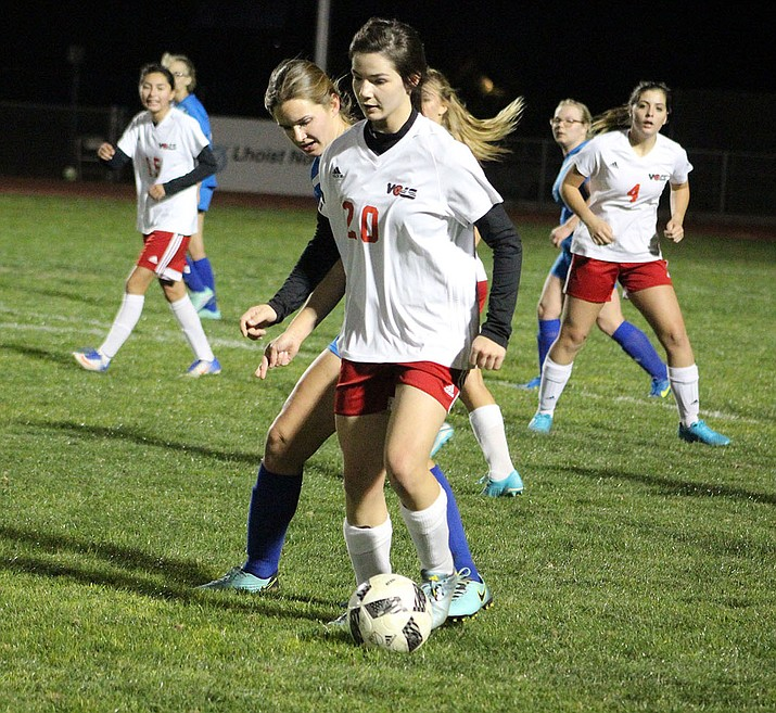 Sadie Serrano (20) scored five goals Monday night to lead the Lady Volunteers to an 8-1 win over Kingman High.