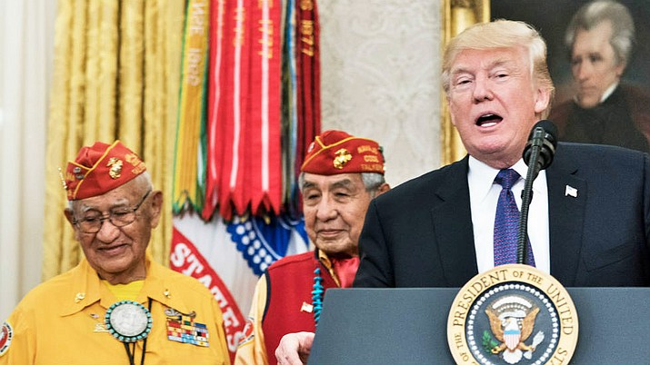 President Donald Trump at event honoring Native American Code Talkers Nov. 27. Submitted photo