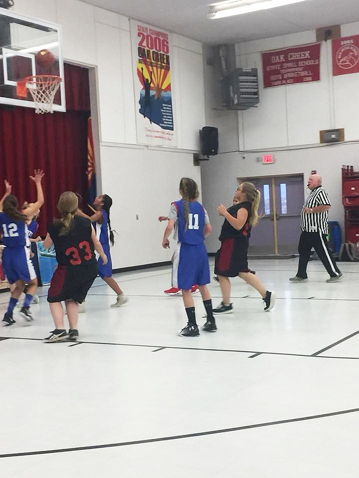 Camp Verde Middle School's seventh grade and eighth grade boys and girls basketball teams both opened their season recently with wins over Oak Creek School. Coach Stone said the girls played with a lot of intensity and hustle. (Photo courtesy Camp Verde Unified School District)