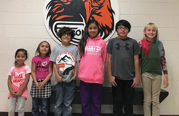 Litzy Urias, Mikaela Davalos, Christopher Townsend, Leslie Vasquez, Keenan Yazzie and Hailey Chase are the November Students of the Month at Williams Elementary School.